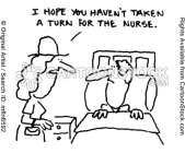 This lady hopes her husband didn't take a turn for the worse, or the nurse. Rhyming words make great puns!