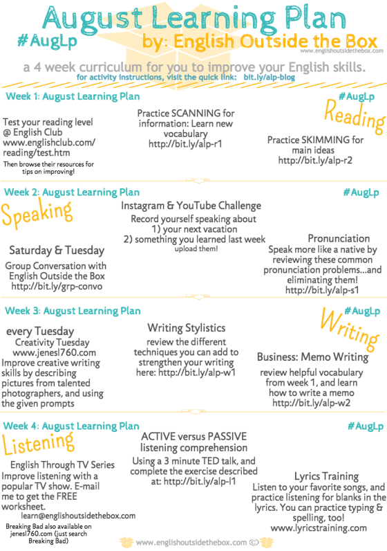 August Learning Plan
