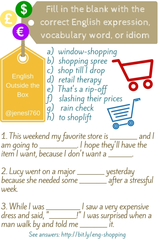 Practice English Idioms, Vocabulary and Expressions for Shopping with English Outside the Box